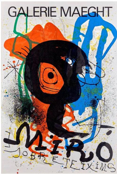 Joan MIRO Sobre Teixims, Galerie Maeght , 1973, Affiche lithographique originale, chez agnes thiebault, Paris