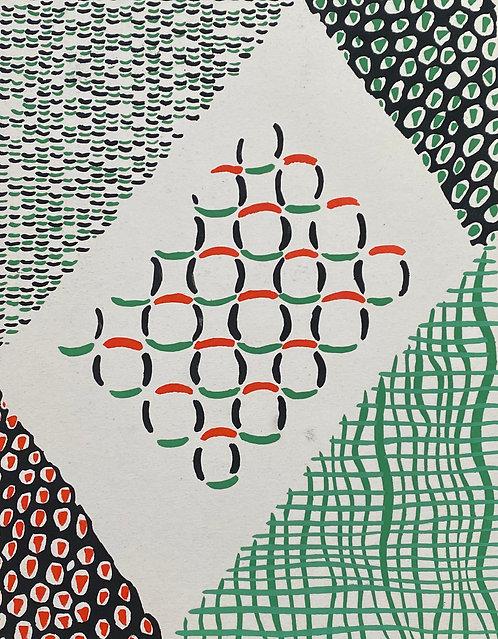 Sonia DELAUNAY1885-1979 Compositon verte rouge noire... 1930  pochoir,  chez agnes thiebault, paris
