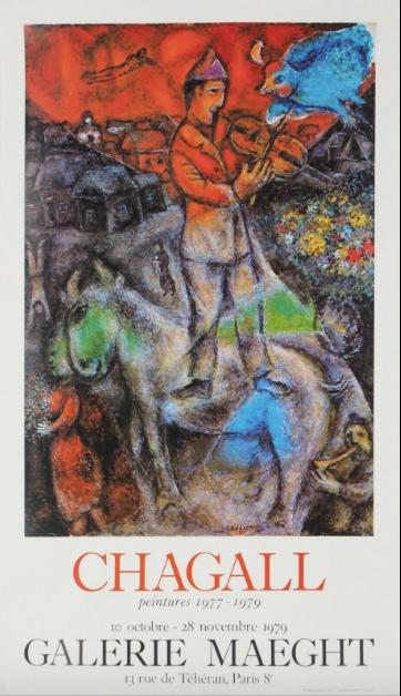 CHAGALL Marc LE VIOLONISTE, 1979, affiche, galerie Maeght  chez agnes thiebault