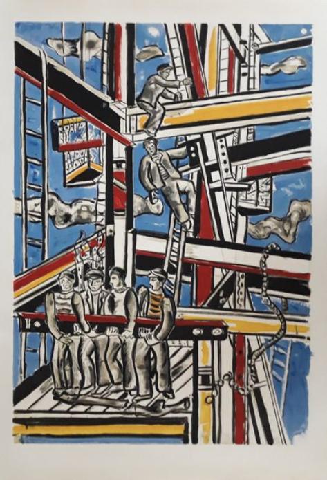 Fernand LEGER (1881-1955) d'après Constructeurs, 1951 Lithographie ,cachet signature, chez agnes  thiebault