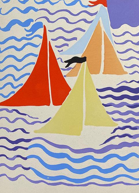 Sonia DELAUNAY1885-1979 les voiliers  1930, pochoir,  chez agnes thiebault, paris