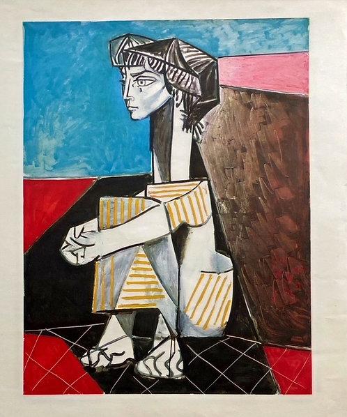 Pablo PICASSO (1881-1973) Jacqueline assise hommage à pablo picasso, 1967, affiche chez agnes thiebault, Paris