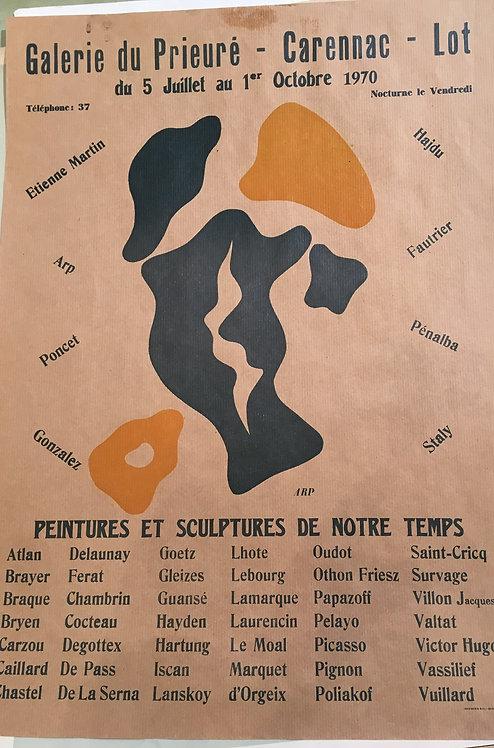 Hans Arp, original poster ,chez ART-limited , agnes thiebault,  Galerie du Prieuré, 1970