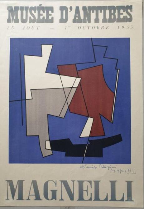 Alberto MAGNELLI (1888 - 1971)  Exposition au musée d'Antibes 15 août - 1er octobre 1955. Affiche lithographique, signée