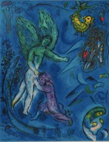 Marc Chagall lithographie originale La lutte de Jacob et de l'ange, chez agnes thiebault, Paris