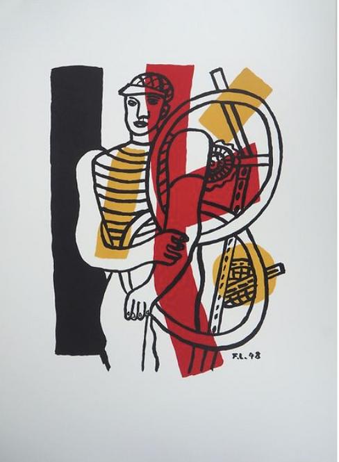 Fernand Léger (1881 - 1955), le cycliste lithographie d'après , galerie agnes thiebault, paris