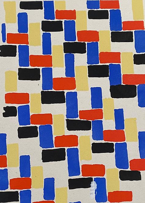 Sonia DELAUNAY1885-1979 Compositon 1930 Planche originalecolorée au pochoir