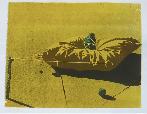Jean LE GAC (né en 1936) lithographie, le chariot ravageur, galerie agnes thiebault paris
