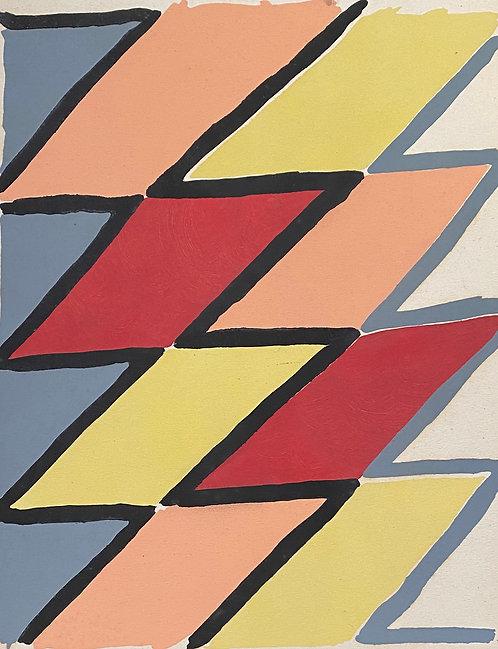 Sonia DELAUNAY1885-1979 Compositon géométrique 1930, pochoir,  chez agnes thiebault, paris