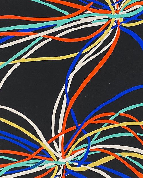 Sonia DELAUNAY1885-1979 Compositon rouge bleu jaune.. 1930, pochoir,  chez agnes thiebault, paris