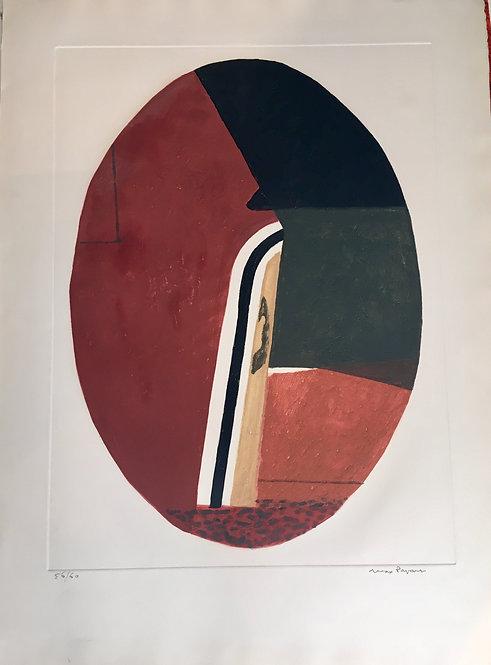 Max PAPART (1911-1994) Ovale I, 1968, cat n15, aquatinte en couleurs , signée