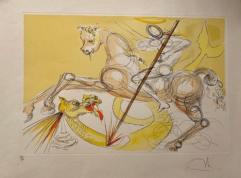 Salvador Dali Saint Georges terrassant le dragon 1974 pointe sèche, eau-forte et pochoir, en couleurs , signée
