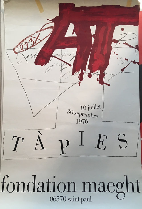 Antoni TAPIES (1923-2012) Exposition Saint Paul de Vence 1976 - Fondation Maeght Affiche originale