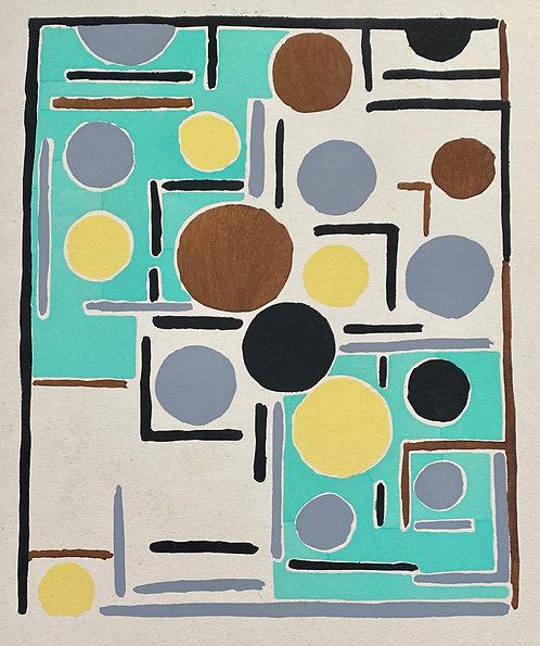 Sonia DELAUNAY1885-1979 Compositon verte marron grise.. 1930, pochoir, chez agnes thiebault, paris