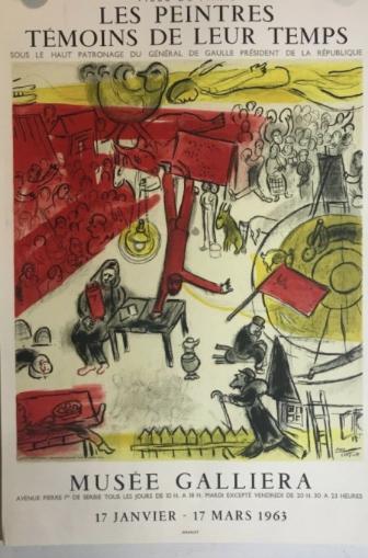 Marc CHAGALL -  Les peintres témoins de leur temps. Musée Galliera,1963.  Affiche originale, Mourlot, chez agnes thiebault