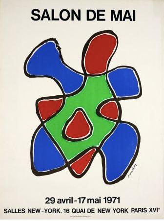 MAN RAY (1890-1976) affiche lithographique originale en couleurs. salon de mai 1971