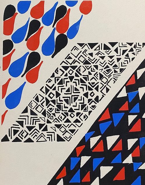 Sonia DELAUNAY1885-1979 Compositon bleu rouge et noire 1930  pochoir,  chez agnes thiebault, paris