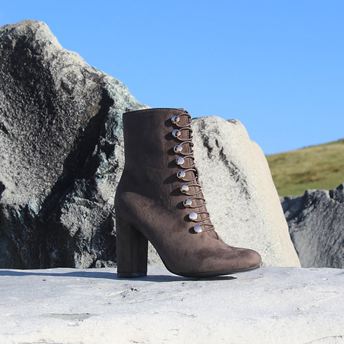 Green Gold Button Ankle Boot