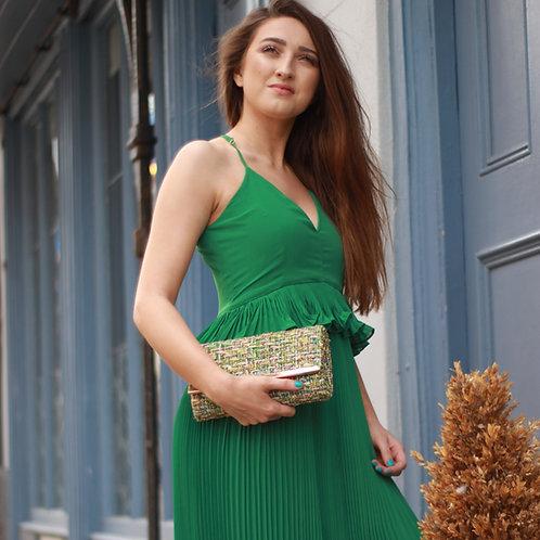 Long Green Ruffle Maxi Dress