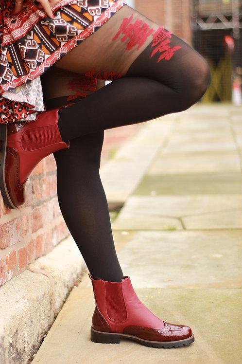 Red Rose & Black 180 Den tights