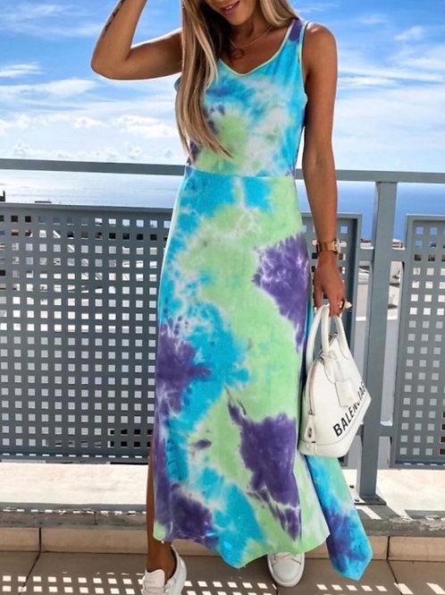 Tye Dye Split Summer Dress