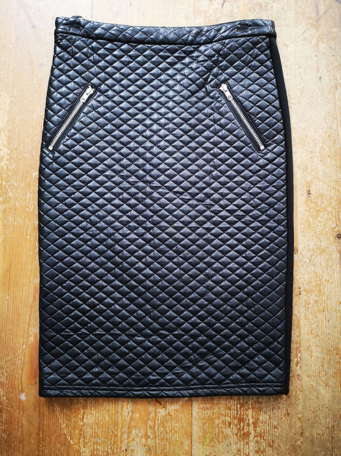 Black Quilted Detail Skirt