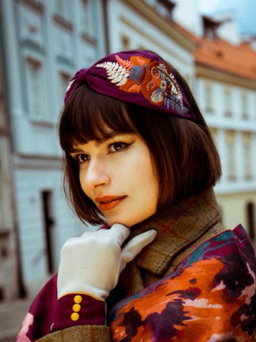 Purple Fox embroidered Headband