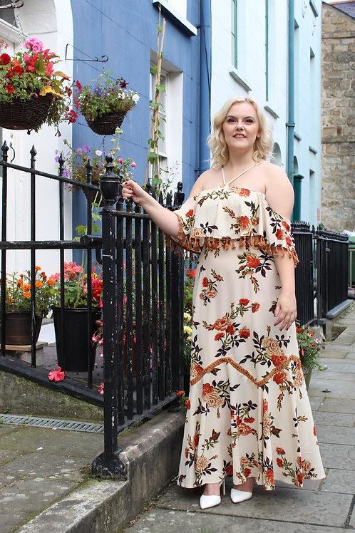 Beige Abba Style Tassel Dress