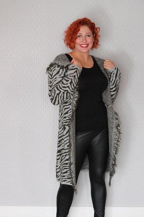 Animal Print Long Hooded Cardigan