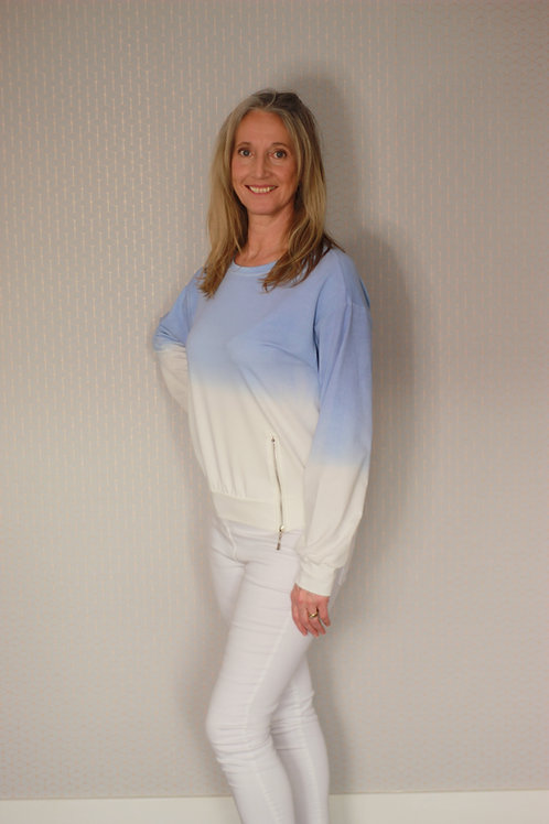Ombre Round Necked L/Sleeve Light Sweatshirt with Zip Detail