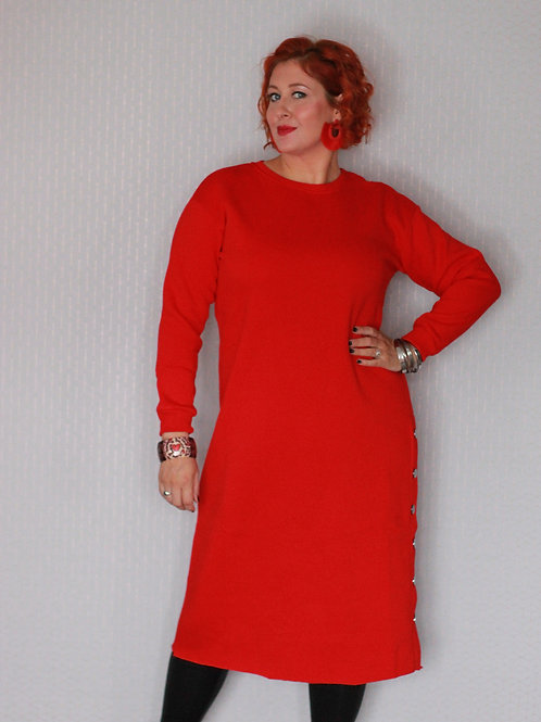 Oversized Red Sweater Dress with Button Split