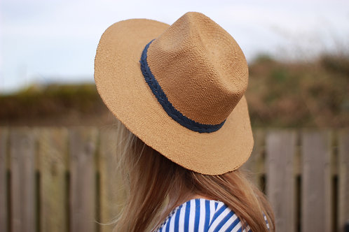 Sand Wide Brim Fedora with navy band