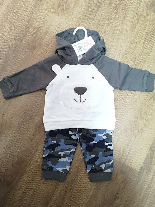 Boys Bear Hoodie and Cargo Pants Set