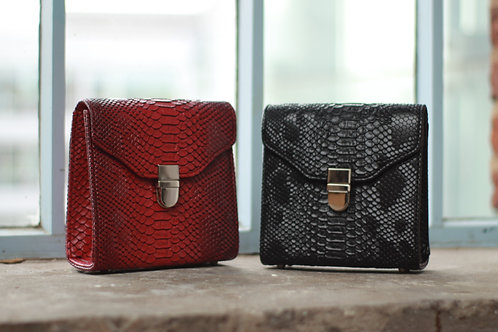 Square Snake Skin Clutch With Clasp