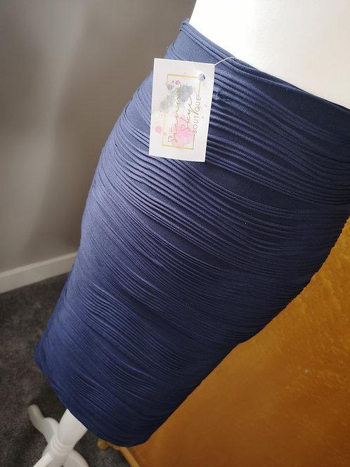 Navy wave stretch pencil skirt size 8