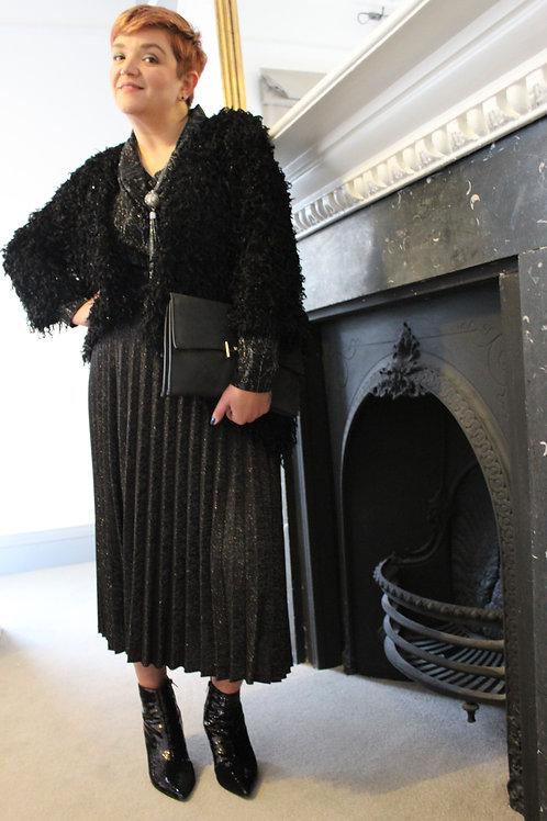 Black Glitter Pleated Skirt