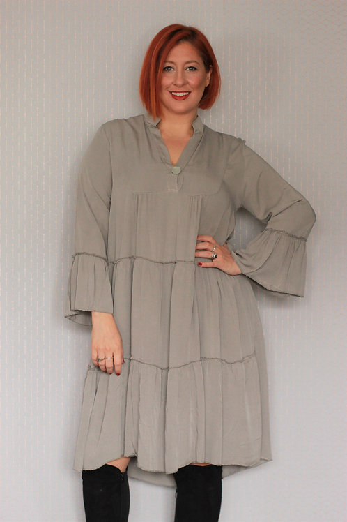 Ruffled Layered Midi Dress With Flared Sleeve