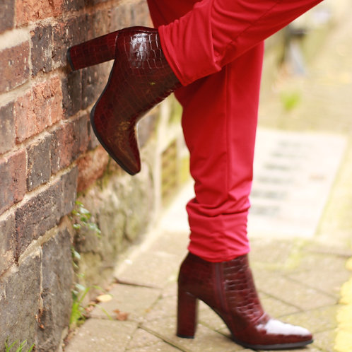Wine Snake Skin Ankle Boots