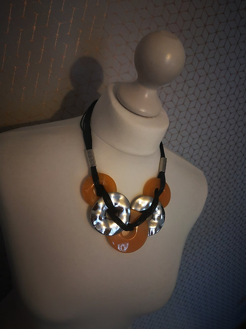 Yellow & Silver Chunky Chain Necklace