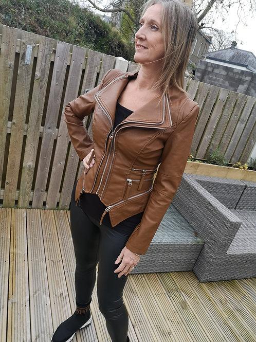 Zipped boutique Parisian Jacket-TAN