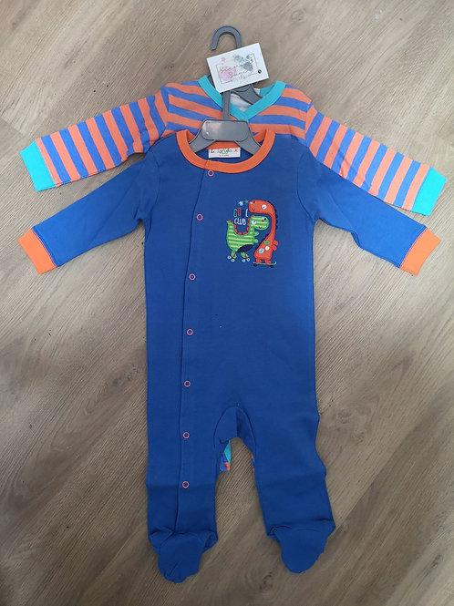 Dinosaur Bodysuits Orange and Royal Blue
