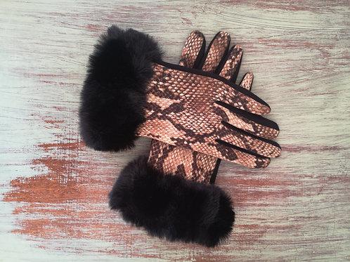 Snake Print Gloves with Black fur Trim