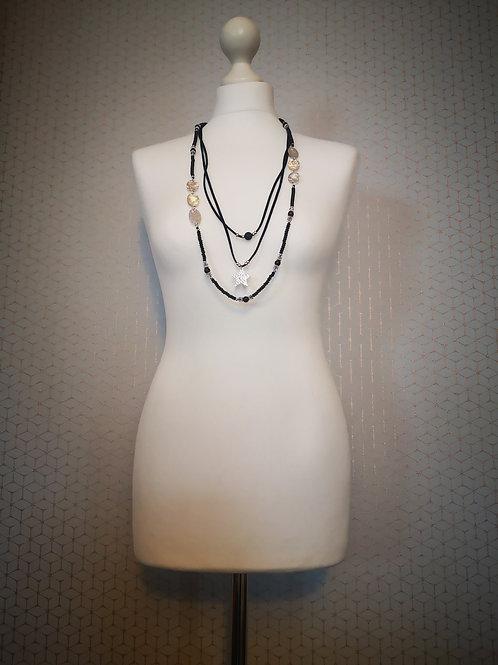 Long Black & Silver Multi Charm Necklace