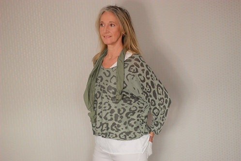 Leopard Print Double Layer Top with Scarf