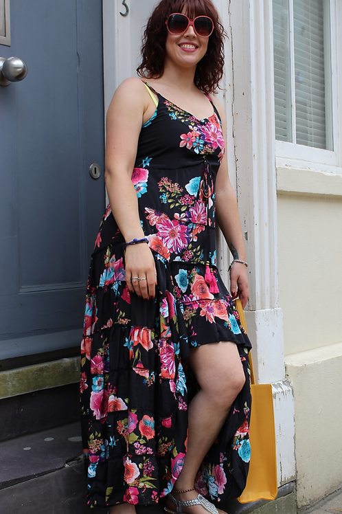 Black Floral Latin style dress-small
