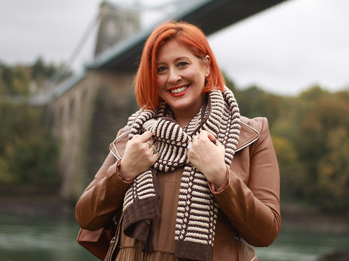 Slouch Striped Wool Mix Scarf
