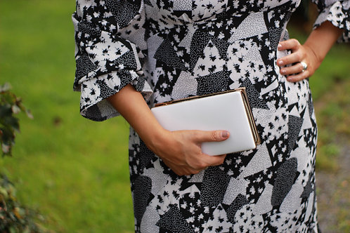 Double Sided Black and Metalic Couture Clutch