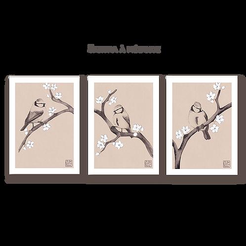Triptyque Sakura à mésange