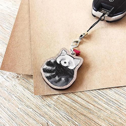 Porte-clef Panda roux enroulé