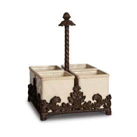 Acanthus Ceramic Flatware Caddy